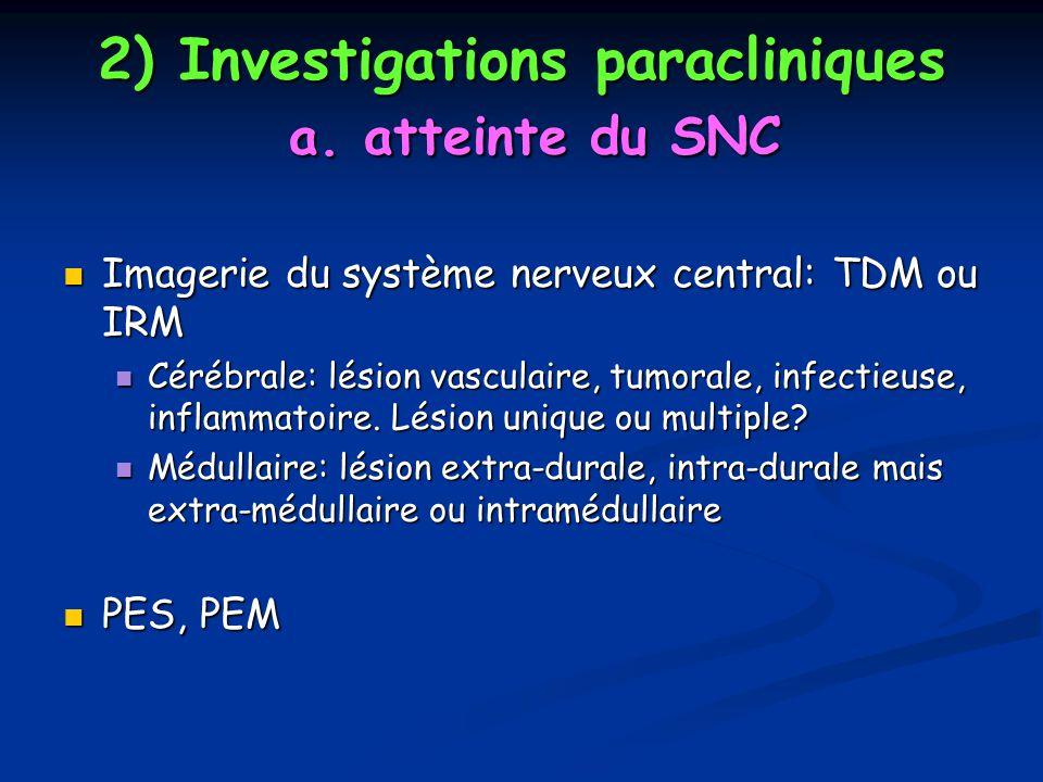 2) Investigations paracliniques a. atteinte du SNC