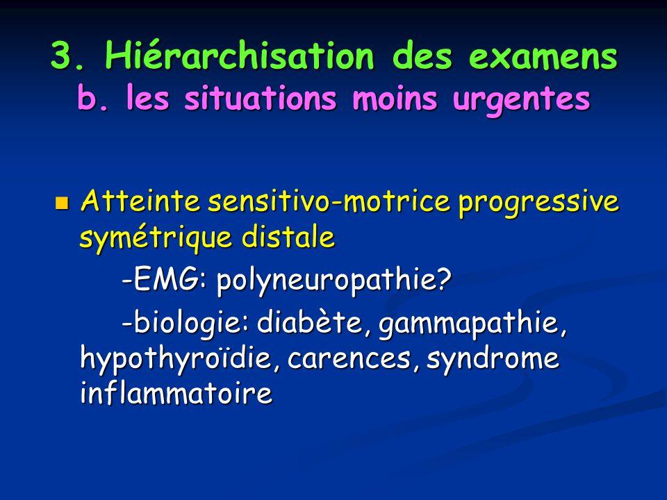 3. Hiérarchisation des examens b. les situations moins urgentes