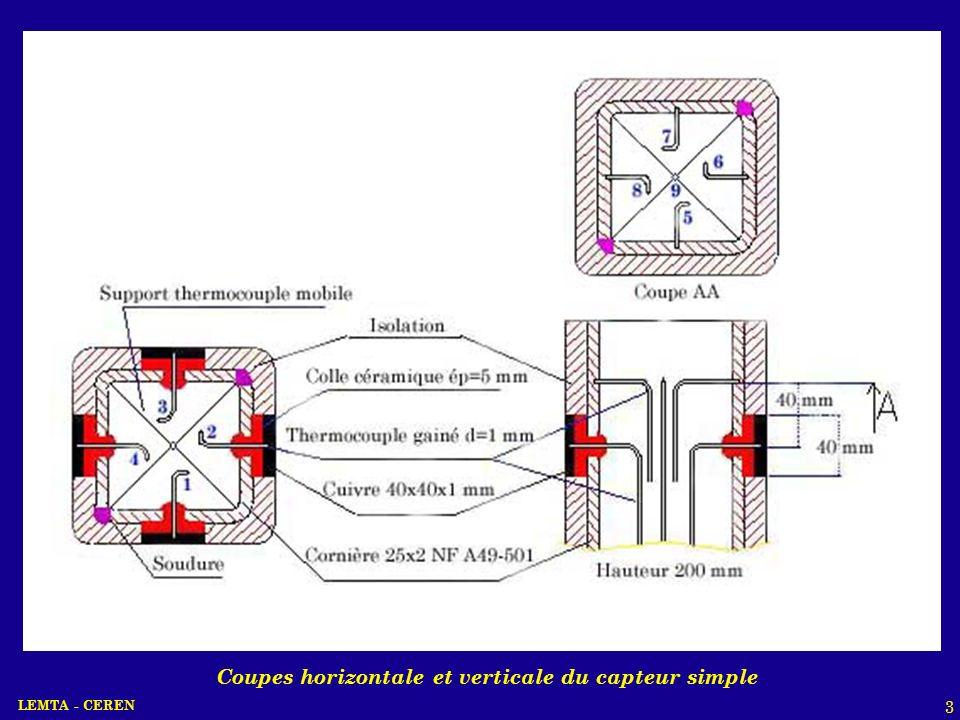 Coupes horizontale et verticale du capteur simple