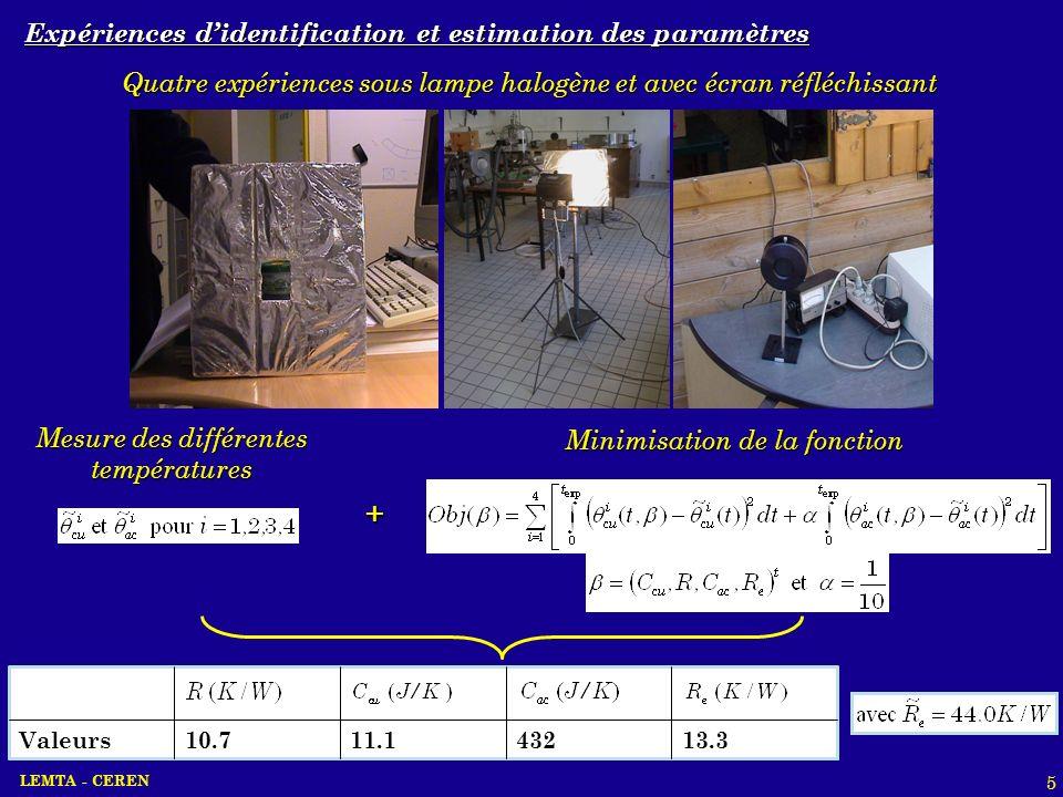 + Expériences d'identification et estimation des paramètres