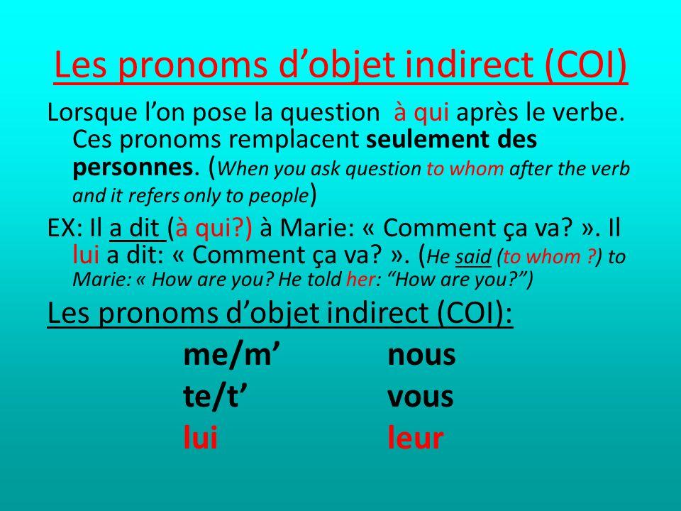 Les pronoms d'objet indirect (COI)