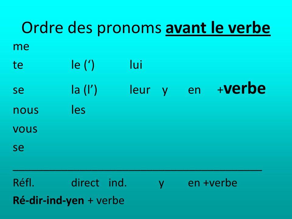 Ordre des pronoms avant le verbe