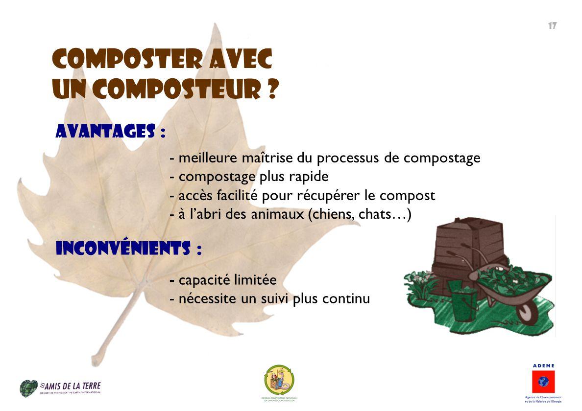 ComposteR avec un composteur Avantages : Inconvénients :