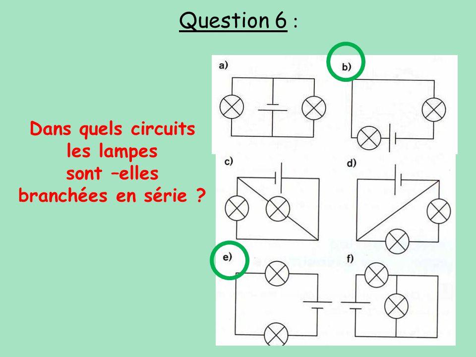 Dans quels circuits les lampes sont –elles branchées en série