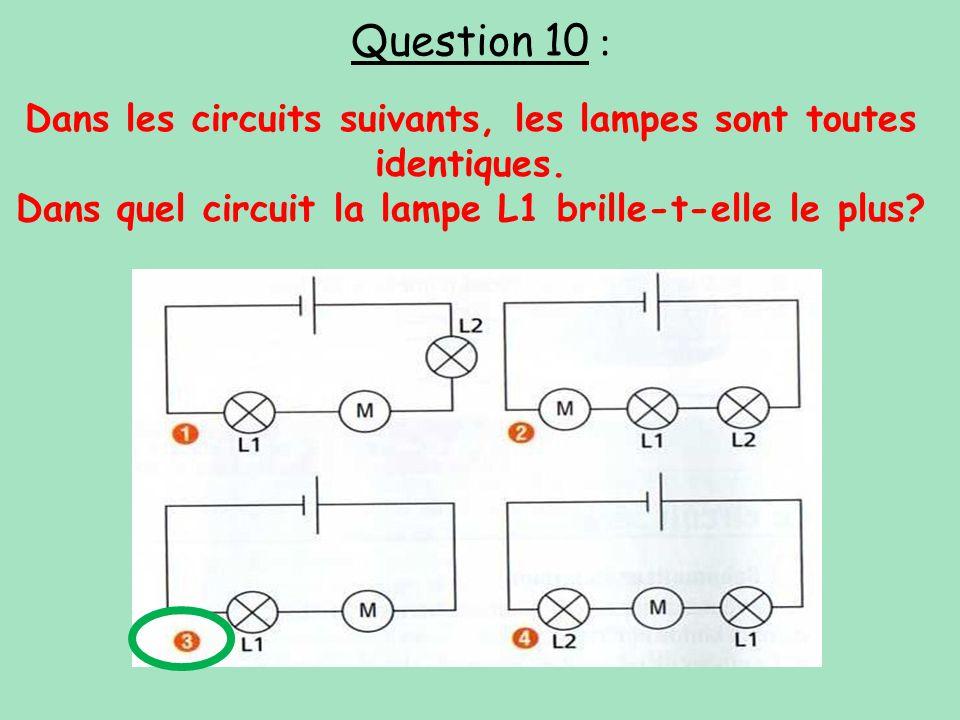 Question 10 : Dans les circuits suivants, les lampes sont toutes identiques.
