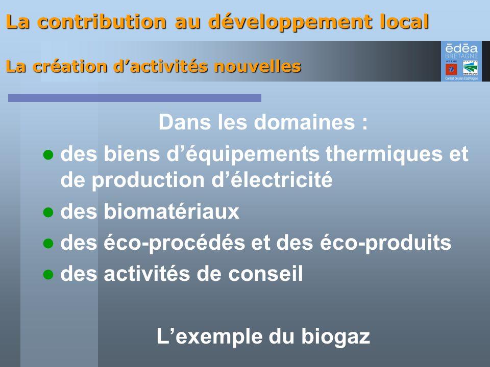 Dans les domaines : L'exemple du biogaz
