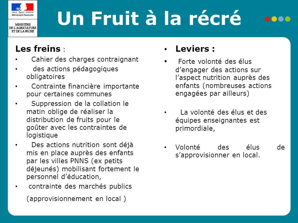 Un Fruit à la récré Les freins : Leviers :