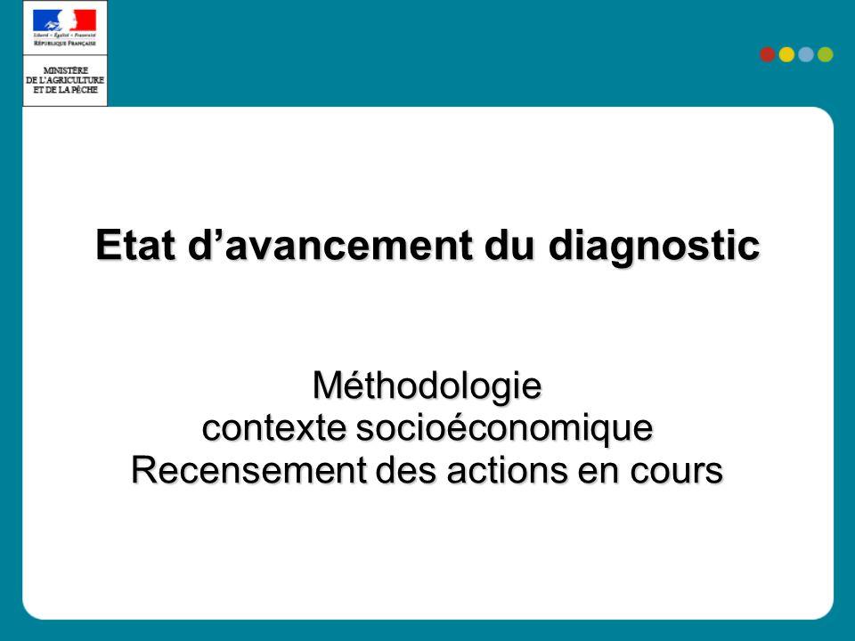 Etat d'avancement du diagnostic Méthodologie contexte socioéconomique Recensement des actions en cours