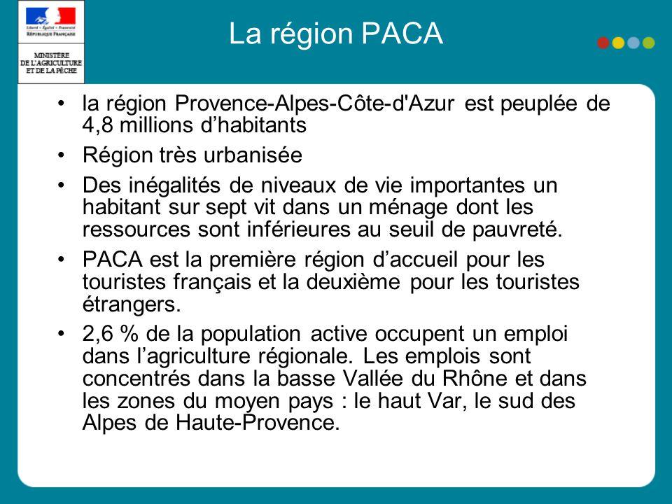 La région PACA la région Provence-Alpes-Côte-d Azur est peuplée de 4,8 millions d'habitants. Région très urbanisée.