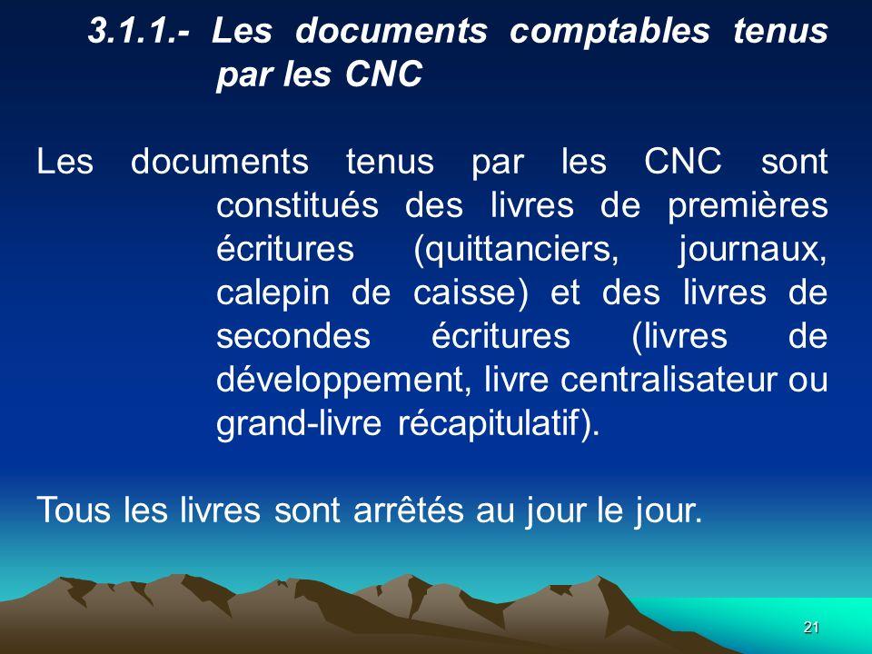3.1.1.- Les documents comptables tenus par les CNC