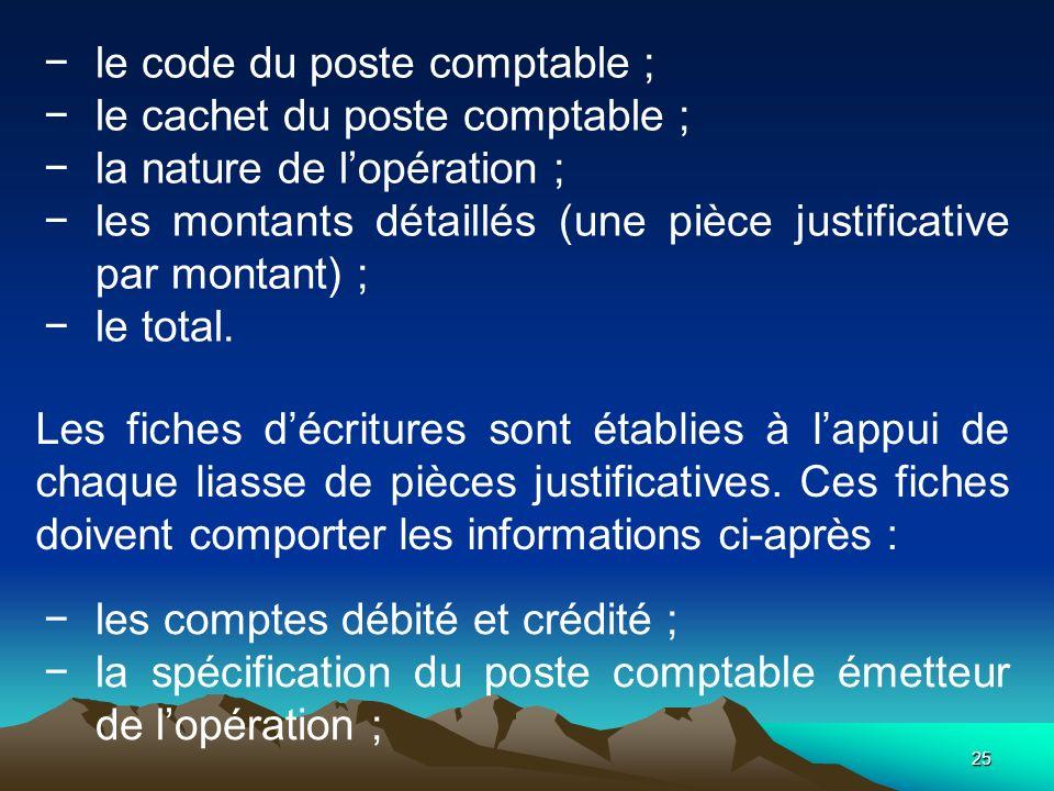 le code du poste comptable ;