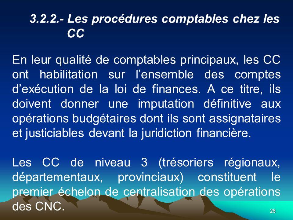 3.2.2.- Les procédures comptables chez les CC