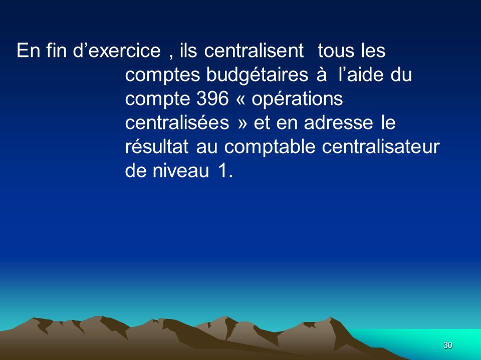 En fin d'exercice , ils centralisent tous les comptes budgétaires à l'aide du compte 396 « opérations centralisées » et en adresse le résultat au comptable centralisateur de niveau 1.