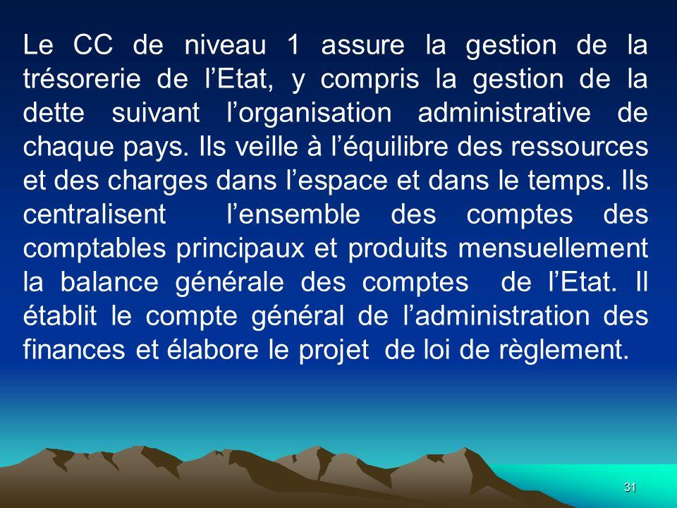 Le CC de niveau 1 assure la gestion de la trésorerie de l'Etat, y compris la gestion de la dette suivant l'organisation administrative de chaque pays.