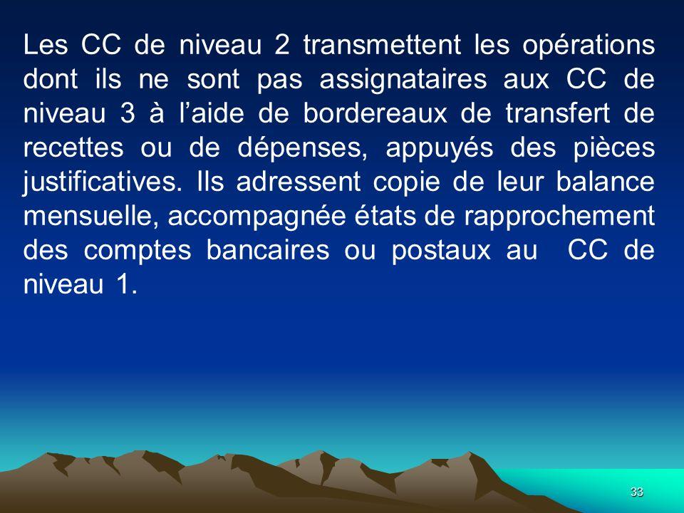 Les CC de niveau 2 transmettent les opérations dont ils ne sont pas assignataires aux CC de niveau 3 à l'aide de bordereaux de transfert de recettes ou de dépenses, appuyés des pièces justificatives.