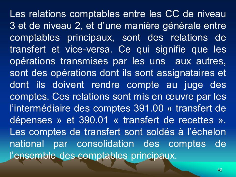 Les relations comptables entre les CC de niveau 3 et de niveau 2, et d'une manière générale entre comptables principaux, sont des relations de transfert et vice-versa.