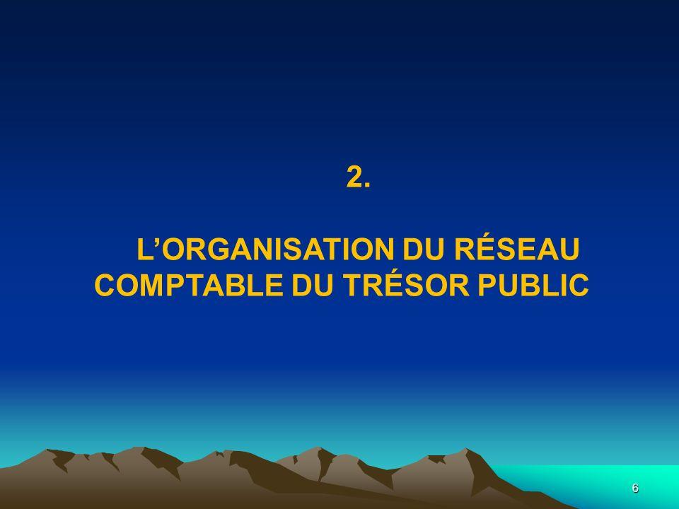 L'ORGANISATION DU RÉSEAU COMPTABLE DU TRÉSOR PUBLIC
