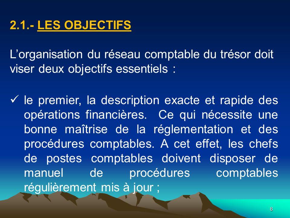 2.1.- Les objectifs L'organisation du réseau comptable du trésor doit viser deux objectifs essentiels :