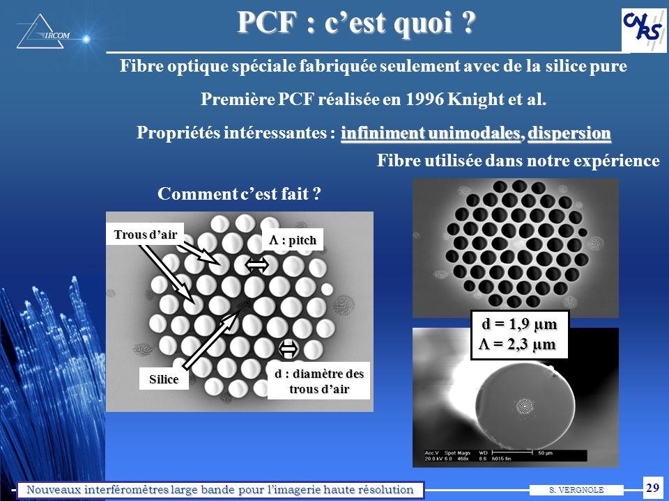 PCF : objectifs Expérience dans les systèmes fibrés pour l'interférométrie stellaire. Expérience EOGI dans le domaine des PCFs.