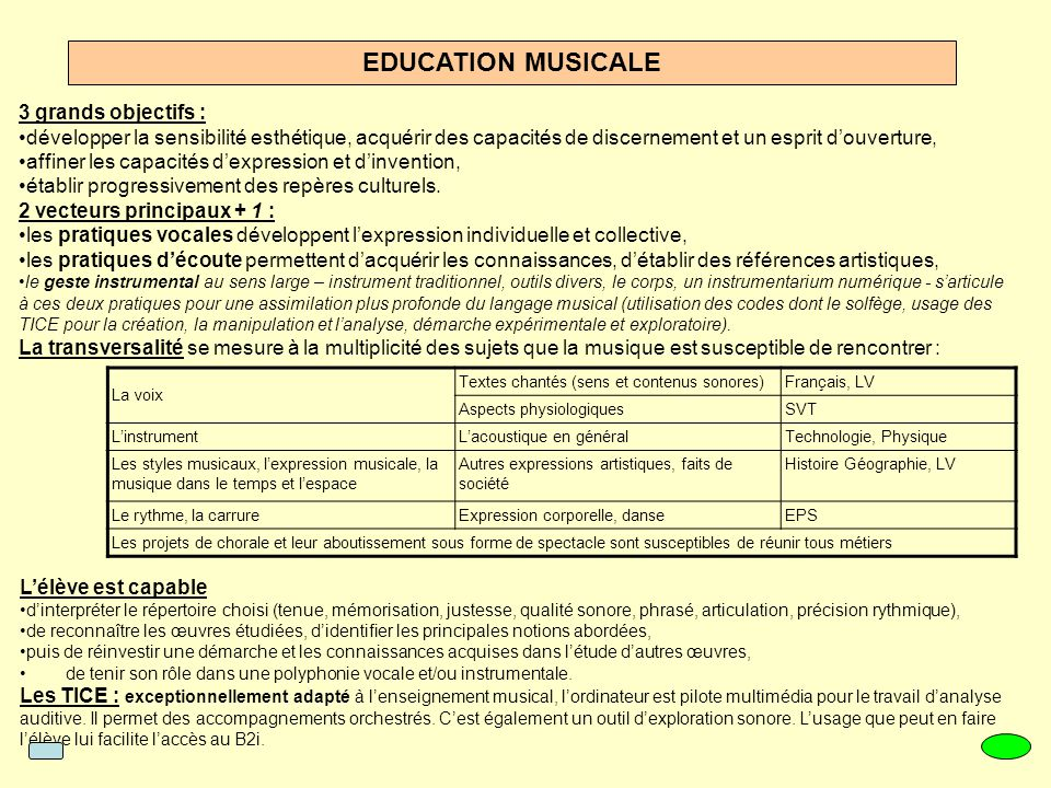 EDUCATION MUSICALE 3 grands objectifs :