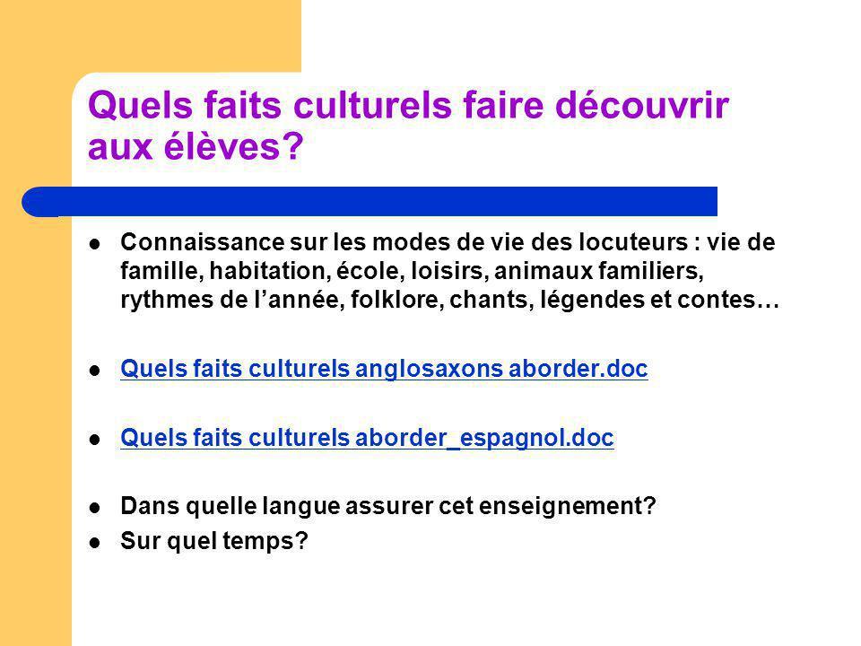 Quels faits culturels faire découvrir aux élèves