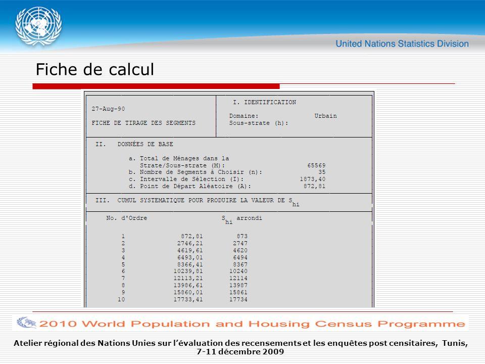 Fiche de calculAtelier régional des Nations Unies sur l'évaluation des recensements et les enquêtes post censitaires, Tunis, 7-11 décembre 2009.