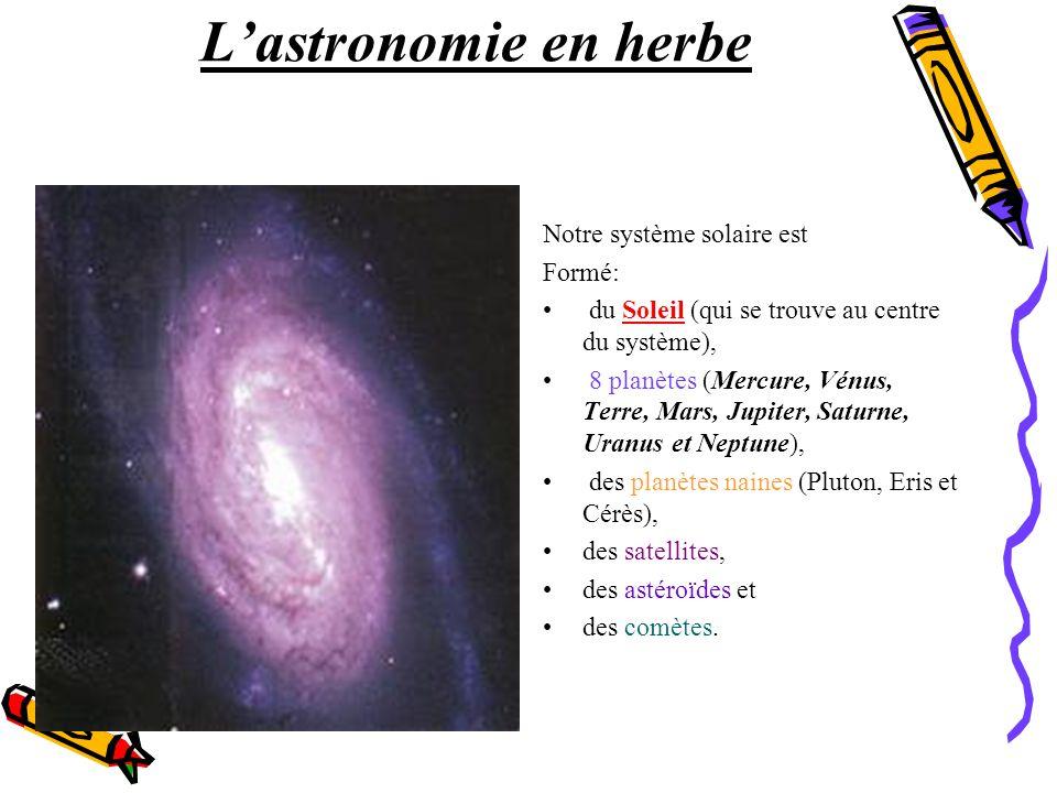 L'astronomie en herbe Notre système solaire est Formé: