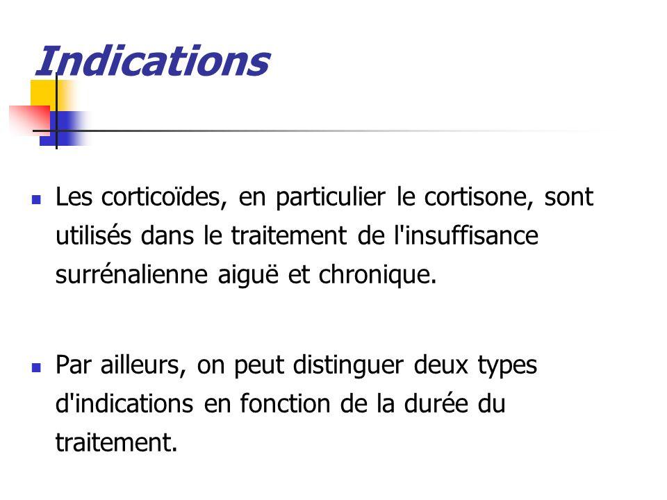 Indications Les corticoïdes, en particulier le cortisone, sont utilisés dans le traitement de l insuffisance surrénalienne aiguë et chronique.