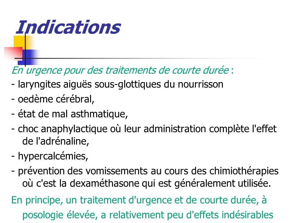 Indications En urgence pour des traitements de courte durée :
