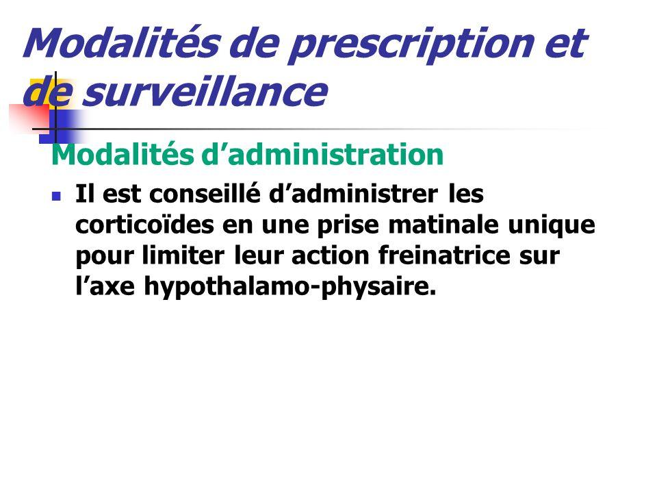 Modalités de prescription et de surveillance