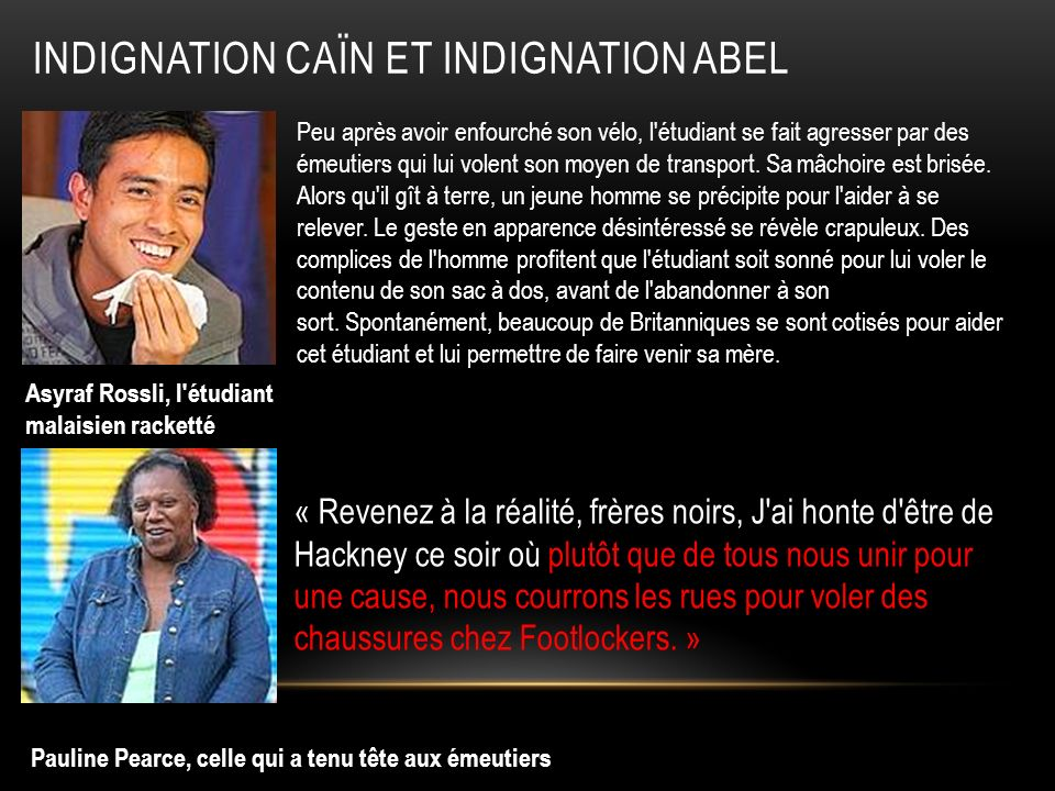 Indignation Caïn et Indignation Abel