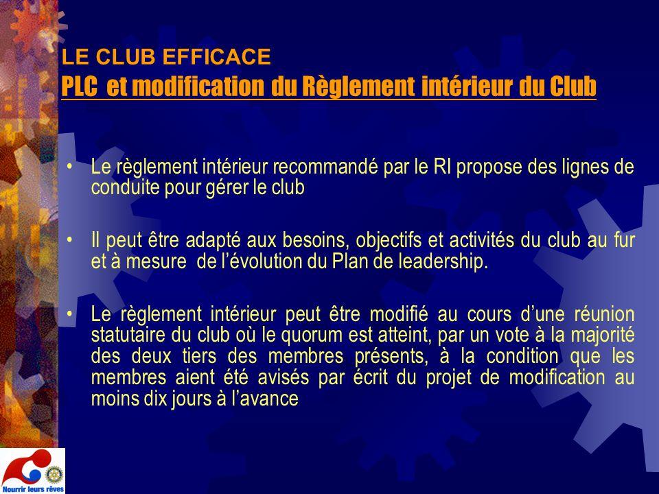 LE CLUB EFFICACE PLC et modification du Règlement intérieur du Club