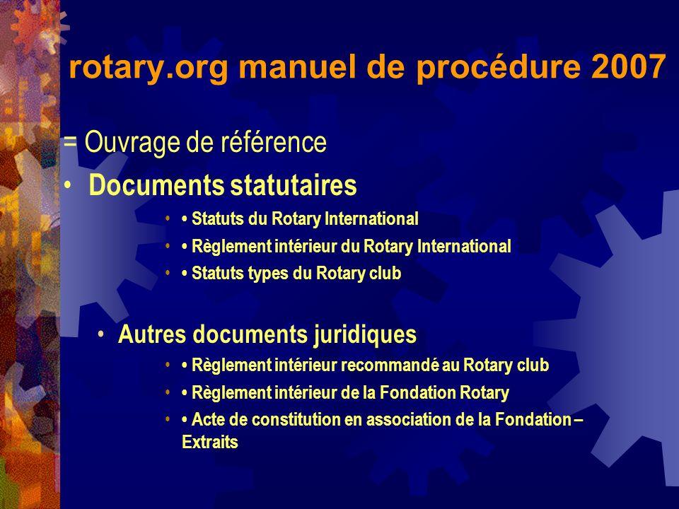 rotary.org manuel de procédure 2007