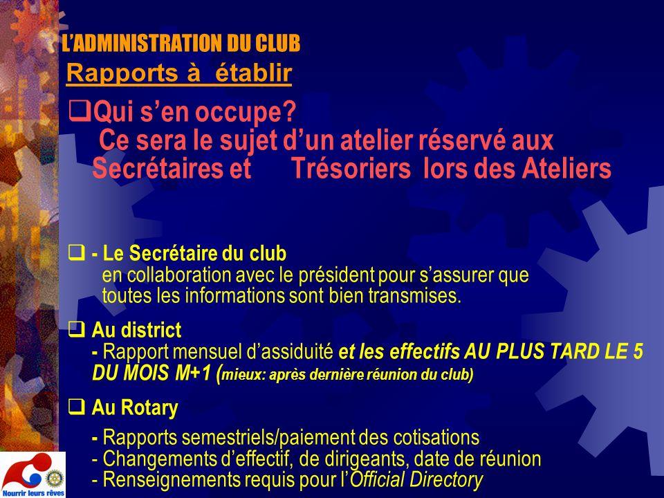 L'ADMINISTRATION DU CLUB Rapports à établir