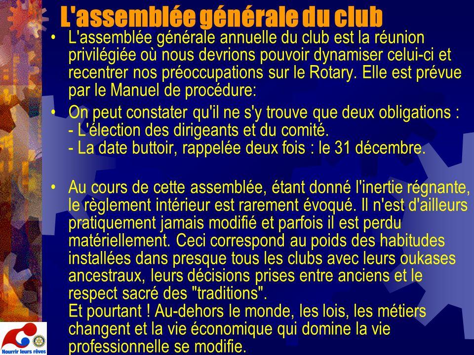 L assemblée générale du club
