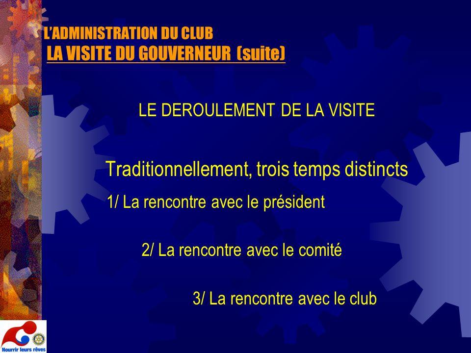L'ADMINISTRATION DU CLUB LA VISITE DU GOUVERNEUR (suite)