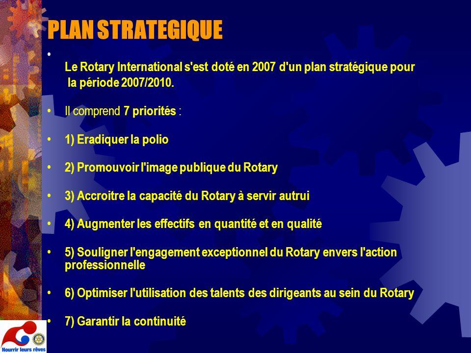 PLAN STRATEGIQUE Le Rotary International s est doté en 2007 d un plan stratégique pour. la période 2007/2010.