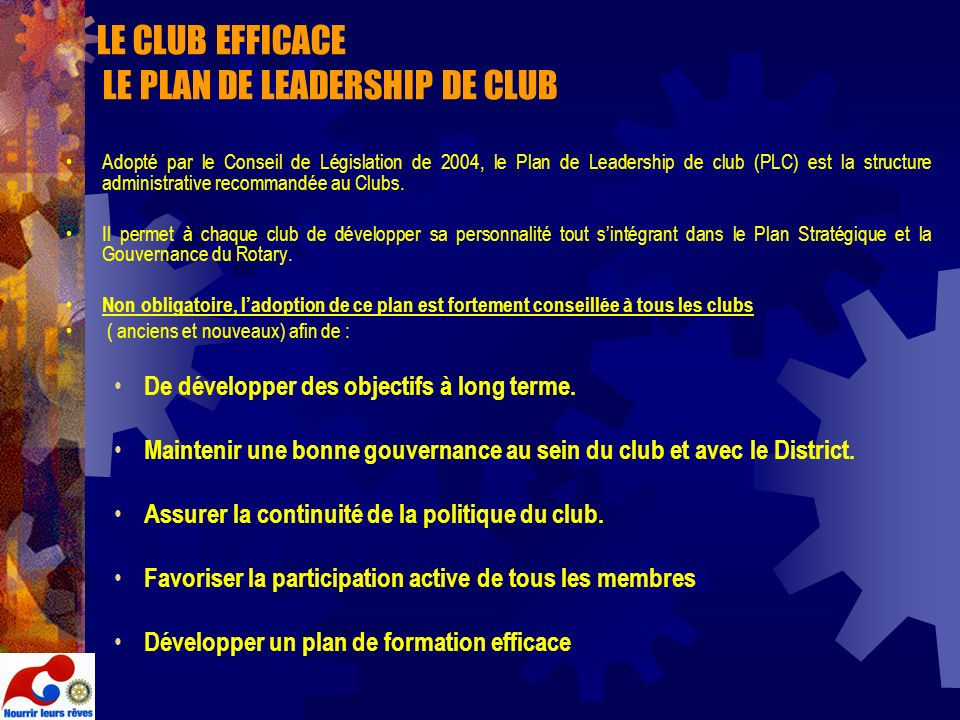 LE CLUB EFFICACE LE PLAN DE LEADERSHIP DE CLUB