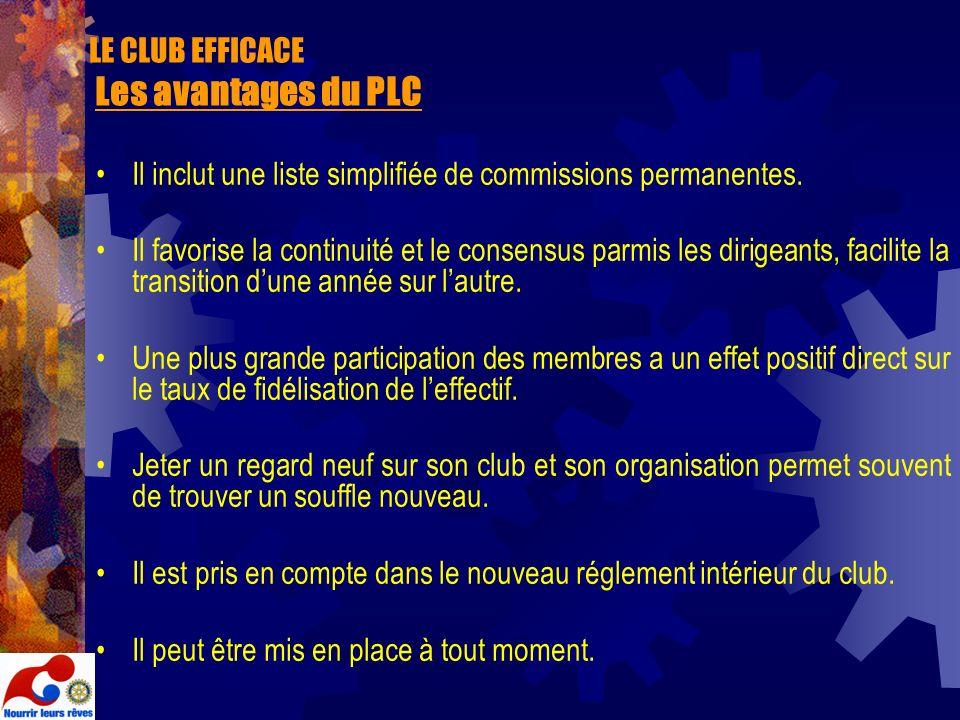 LE CLUB EFFICACE Les avantages du PLC