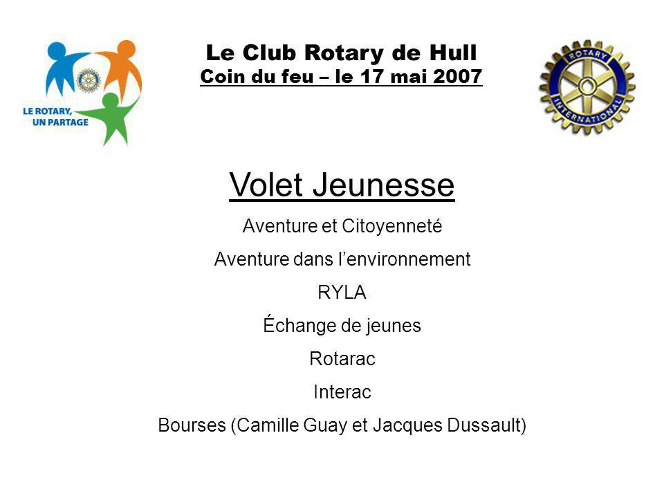 Volet Jeunesse Le Club Rotary de Hull Coin du feu – le 17 mai 2007