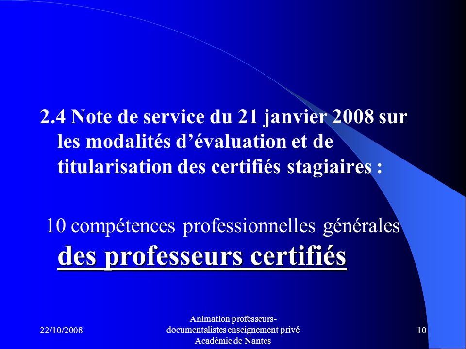 10 compétences professionnelles générales des professeurs certifiés
