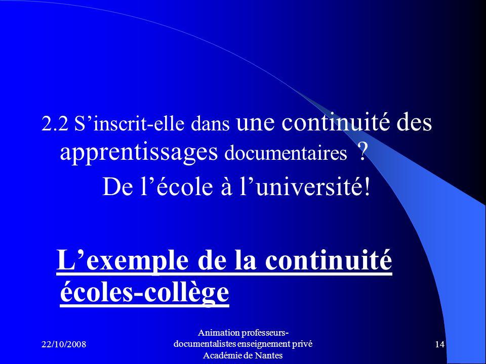 L'exemple de la continuité écoles-collège