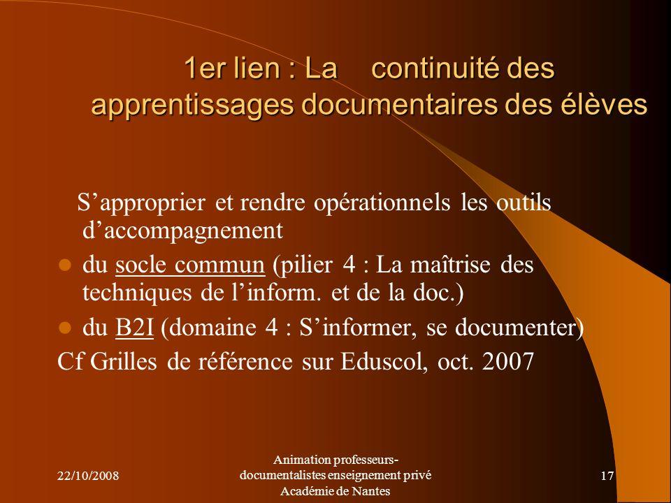 1er lien : La continuité des apprentissages documentaires des élèves