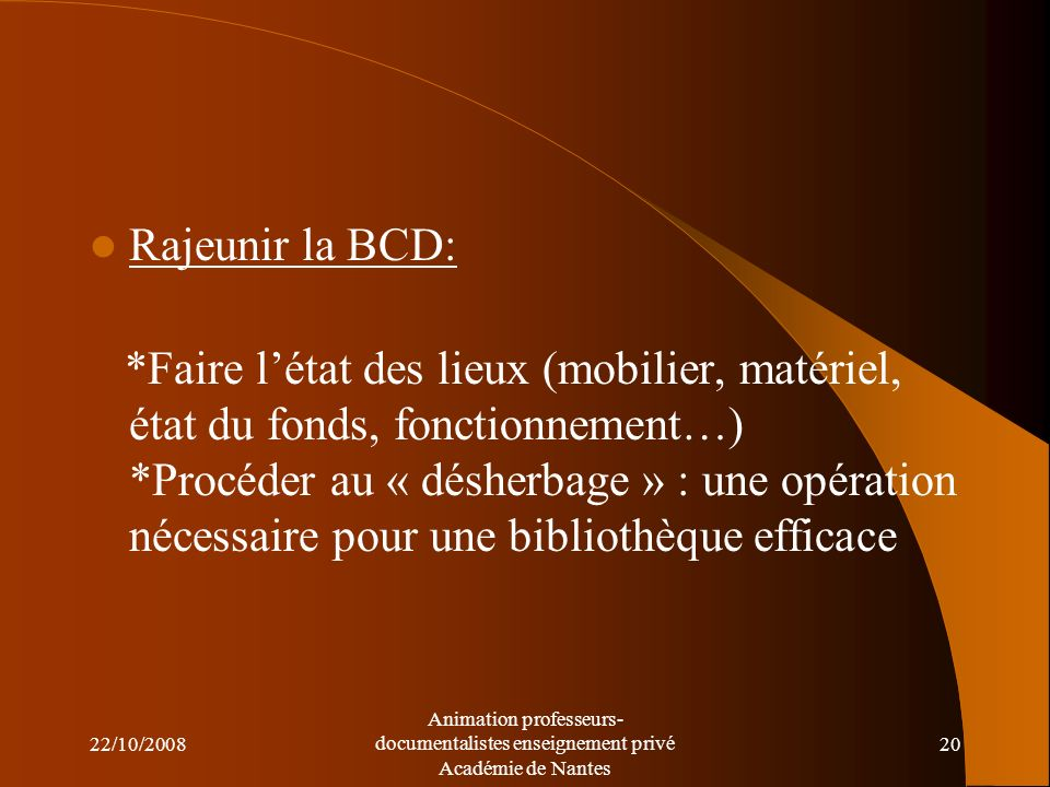 Rajeunir la BCD: