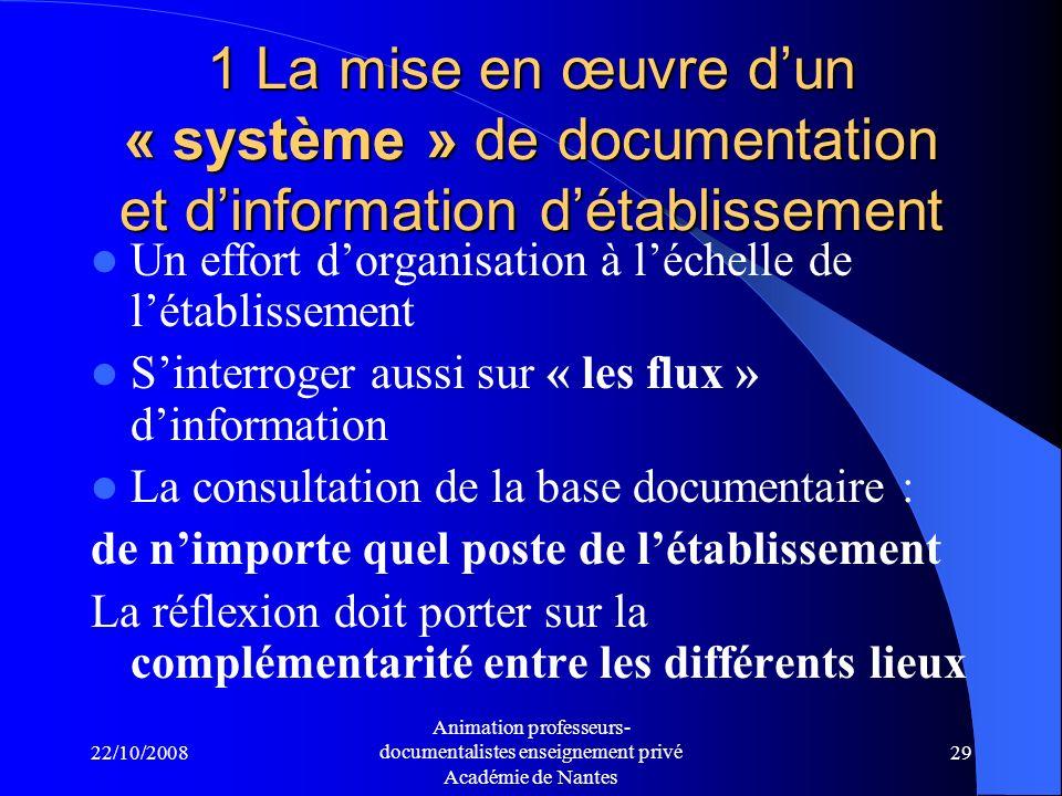 1 La mise en œuvre d'un « système » de documentation et d'information d'établissement