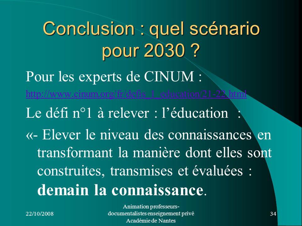 Conclusion : quel scénario pour 2030