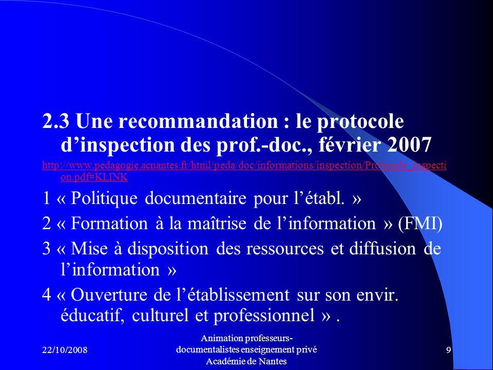 2. 3 Une recommandation : le protocole d'inspection des prof. -doc
