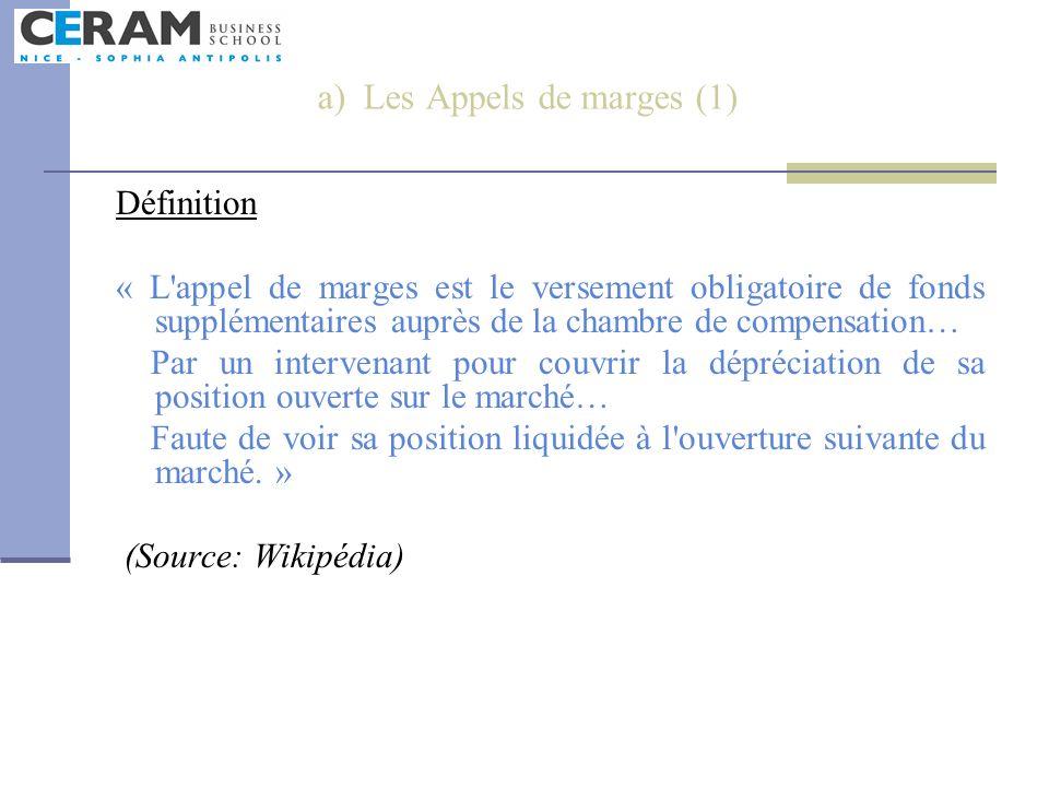 a) Les Appels de marges (1)