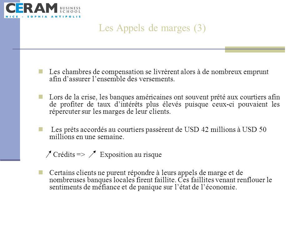 Les Appels de marges (3) Les chambres de compensation se livrèrent alors à de nombreux emprunt afin d'assurer l'ensemble des versements.