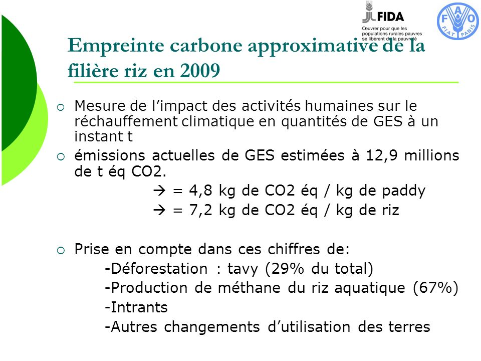 Empreinte carbone approximative de la filière riz en 2009